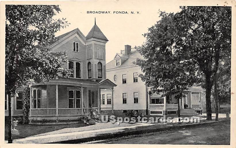 Broadway - Fonda, New York NY Postcard