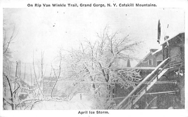 April Ice Storm Grand Gorge, New York Postcard