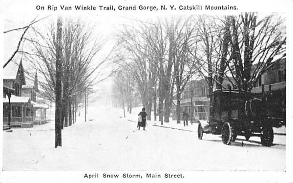 Main Street, April Snow Storm Grand Gorge, New York Postcard