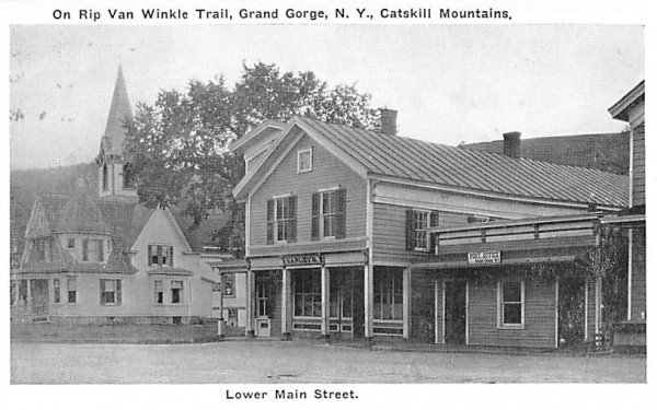 Lower Main Street Grand Gorge, New York Postcard