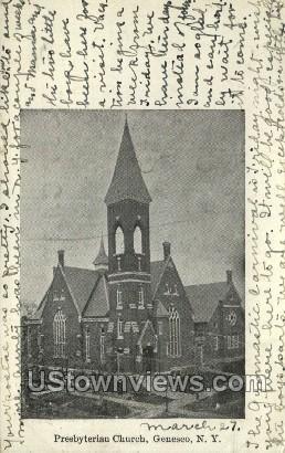 Presbyterian Church - Geneseo, New York NY Postcard