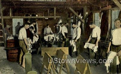 Glove Industry knee stakers at work - Gloversville, New York NY Postcard