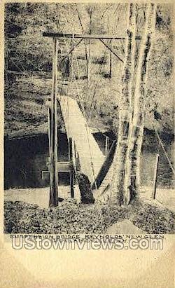 Suspension Bridge - Grahamsville, New York NY Postcard