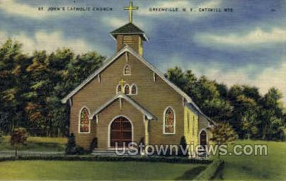St John's Catholic Church - Greenville, New York NY Postcard