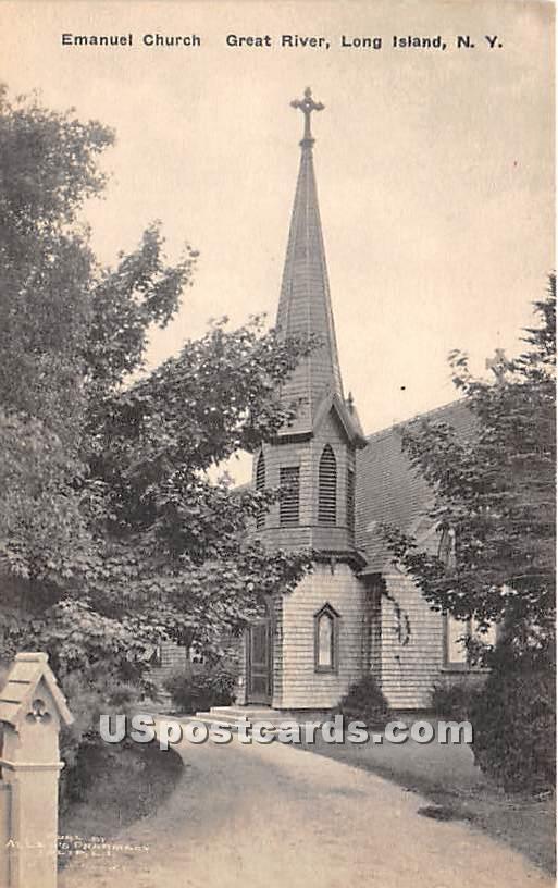 Emanuel Church, Great River - New York NY Postcard