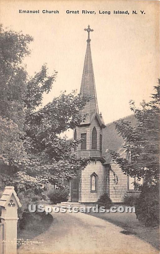 Emanuel Church - Great River, New York NY Postcard