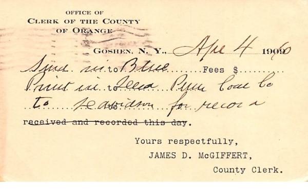 Clerk of the County of Orange Goshen, New York Postcard
