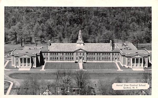 Aerial View of Central School Goshen, New York Postcard