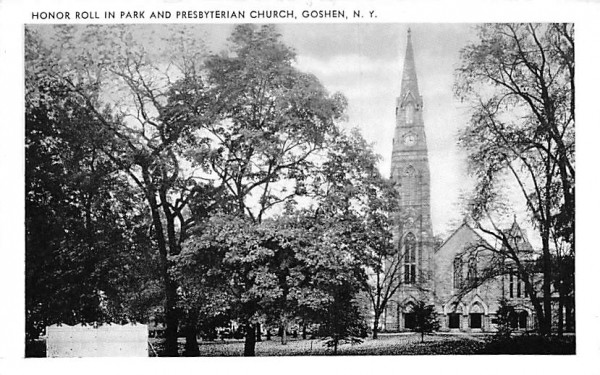 Honor Roll in Park and Presbyterian Church Goshen, New York Postcard