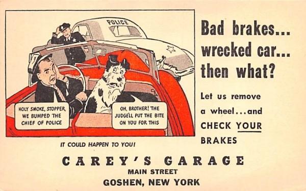 Carey's Garage Goshen, New York Postcard