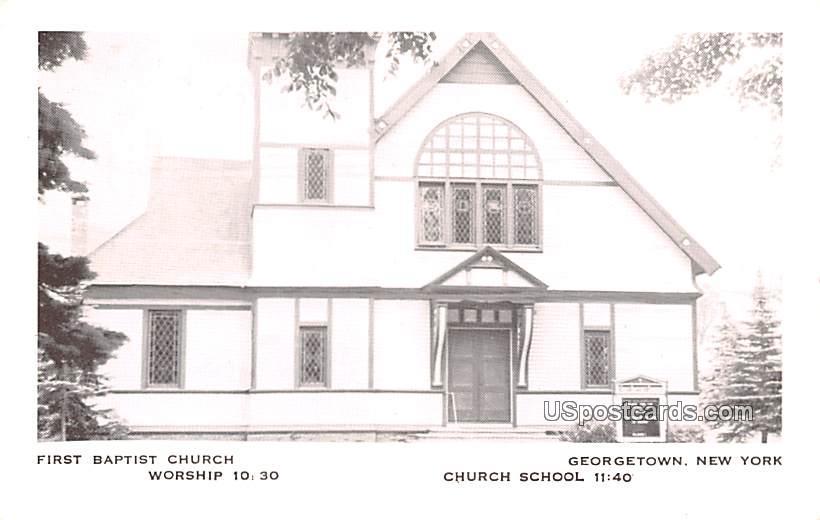 First Baptist Church - Georgetown, New York NY Postcard