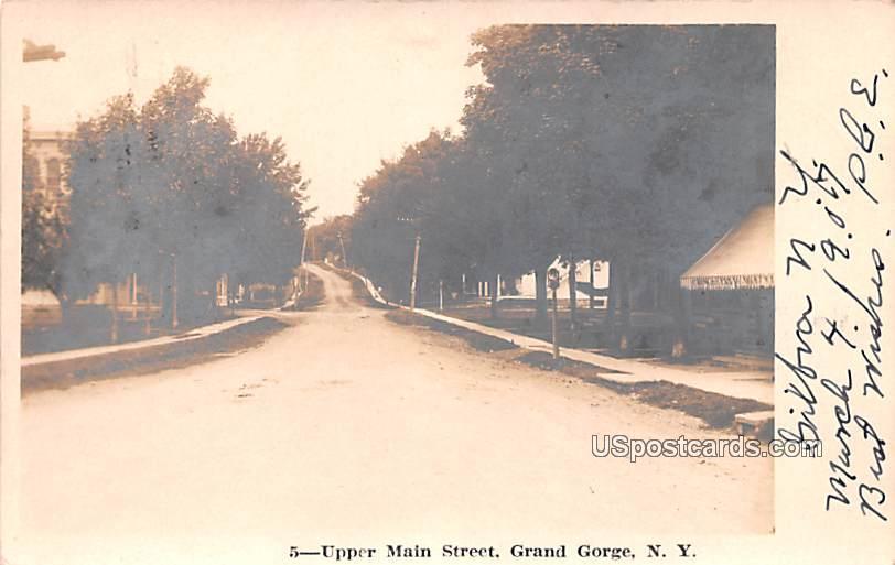 Upper Main Street - Grand Gorge, New York NY Postcard
