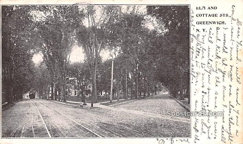Elm and Cottage Streets - Greenwich, New York NY Postcard