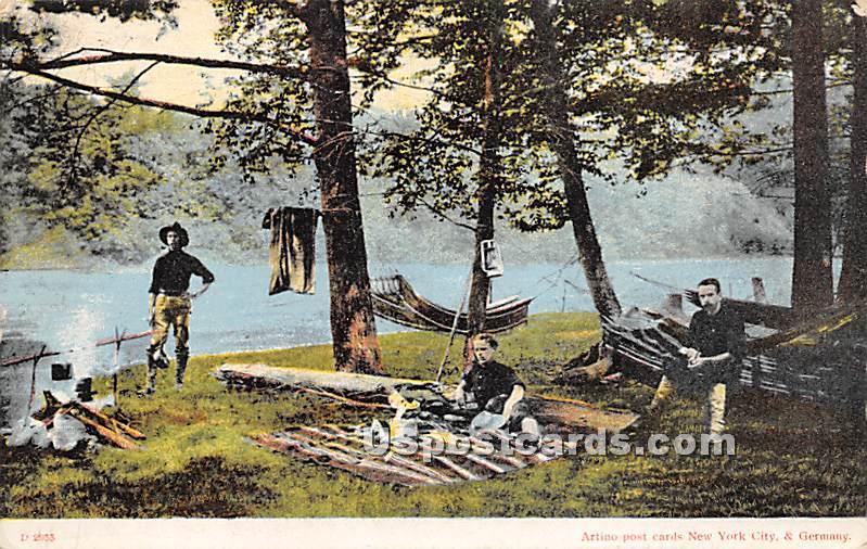 Camp Scene - Glen Wild, New York NY Postcard