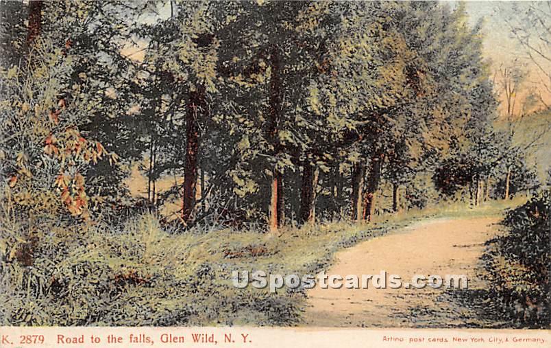 Road to the Falls - Glen Wild, New York NY Postcard