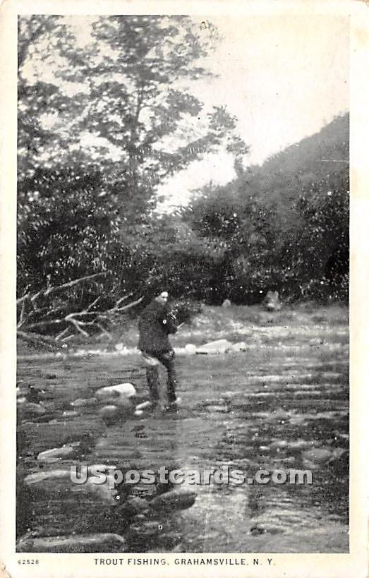Trout Fishing - Grahamsville, New York NY Postcard