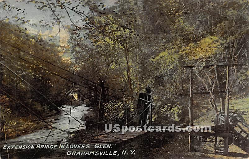 Extension Bridge in Lovers Glen - Grahamsville, New York NY Postcard