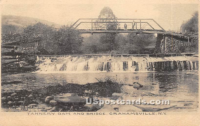 Tannery Dam and Bridge - Grahamsville, New York NY Postcard