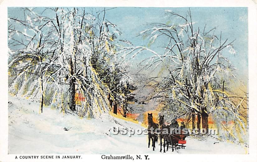 Country Scene in January - Grahamsville, New York NY Postcard