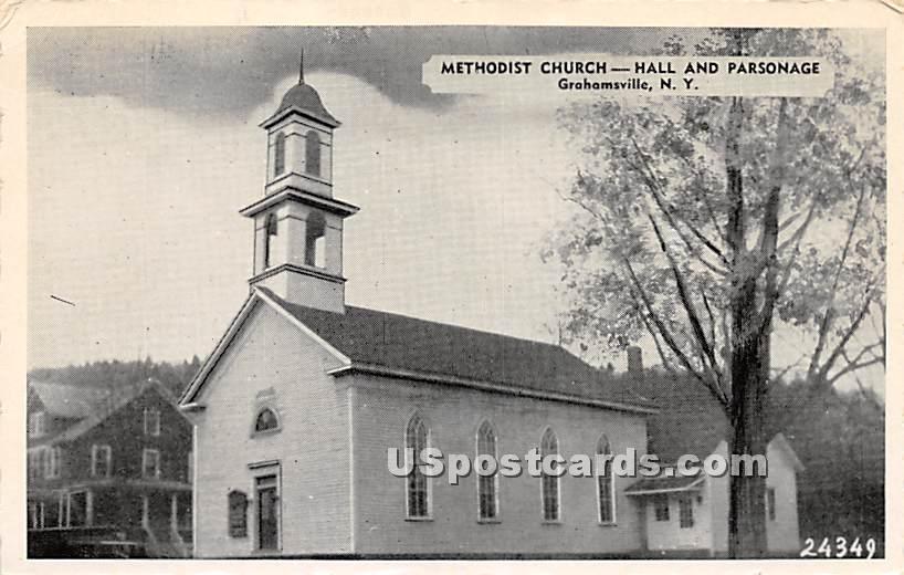 Methodist Church, Hall and Parsonage - Grahamsville, New York NY Postcard