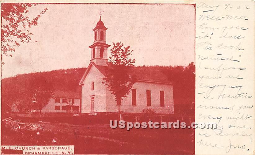 M E Church and Parsonage - Grahamsville, New York NY Postcard