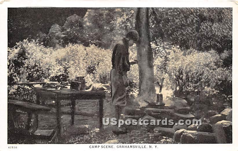 Camp Scene - Grahamsville, New York NY Postcard