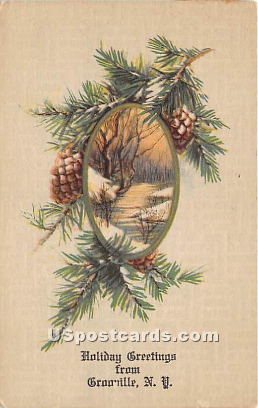 Holiday Greetings - Grooville, New York NY Postcard