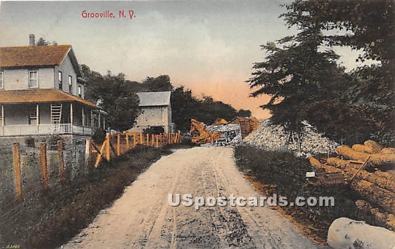 Road Scene - Grooville, New York NY Postcard
