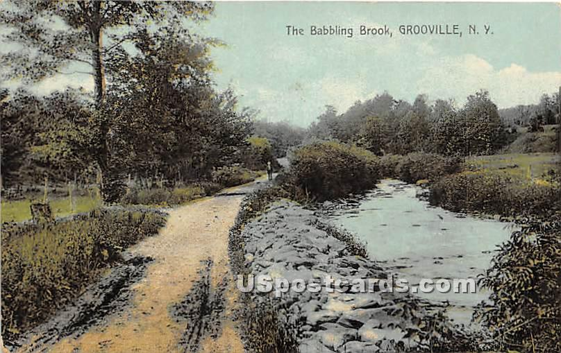 Babbling Brook - Grooville, New York NY Postcard