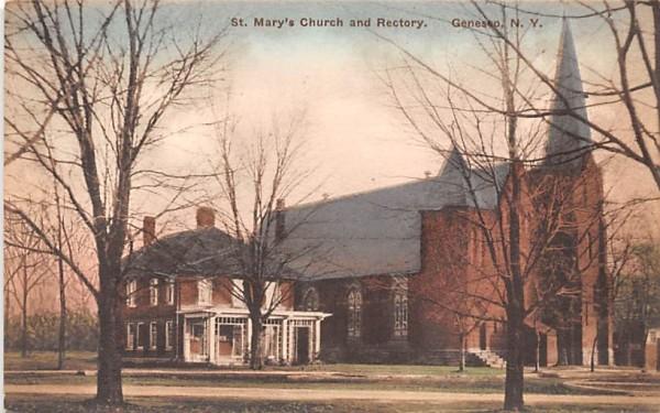 St Mary's Church & Rectory Geneseo, New York Postcard
