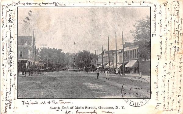 South End of Main Street Geneseo, New York Postcard
