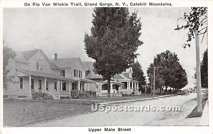 Upper Main Street, Rip Van Winkle Trail - Grand Gorge, New York NY Postcard