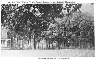 Schaffer House in Foreground Grand Gorge, New York Postcard
