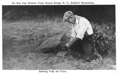 Setting Trap for Furs Grand Gorge, New York Postcard