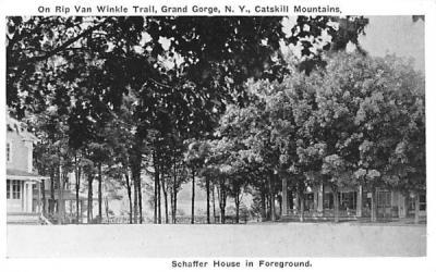 Schaffer House in Foreground Grand Gorge, New York Postcard