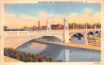 Bridge over Hudson River Glens Falls, New York Postcard