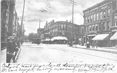 Corner Main & Fulton Streets Gloversville, New York Postcard