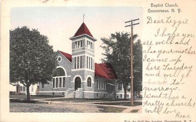 Baptist Church Gouverneur, New York Postcard