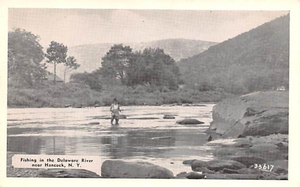 Fishing in the Delaware River Hancock, New York Postcard
