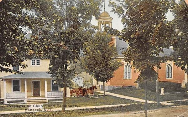Presbyterian Church & Parsonage Hancock, New York Postcard