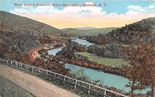 West Branch Delaware River Approaching Hancock, New York Postcard