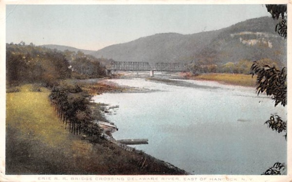 Erie RR Bridge Crossing Hancock, New York Postcard