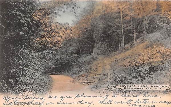 Lover's Lane Hancock, New York Postcard