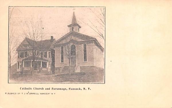 Catholic Church & Parsonage Hancock, New York Postcard