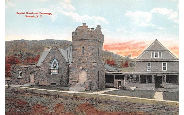 Baptist Church & Parsonage Hancock, New York Postcard