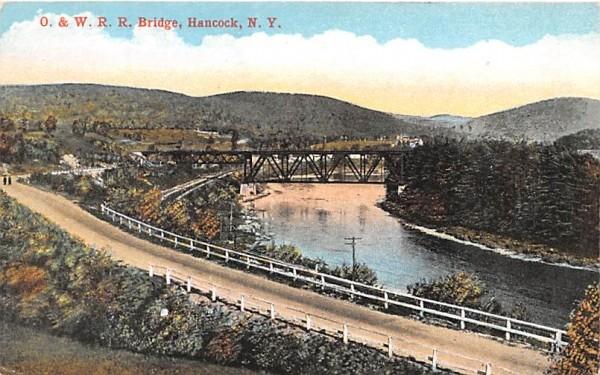 O & W RR Bridge Hancock, New York Postcard