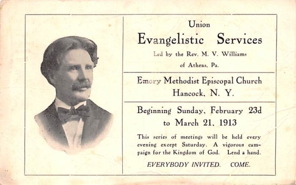 Evangelistic Services Hancock, New York Postcard