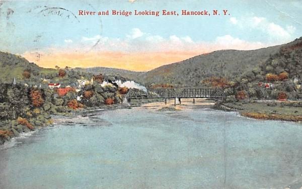 River & Bridge Hancock, New York Postcard