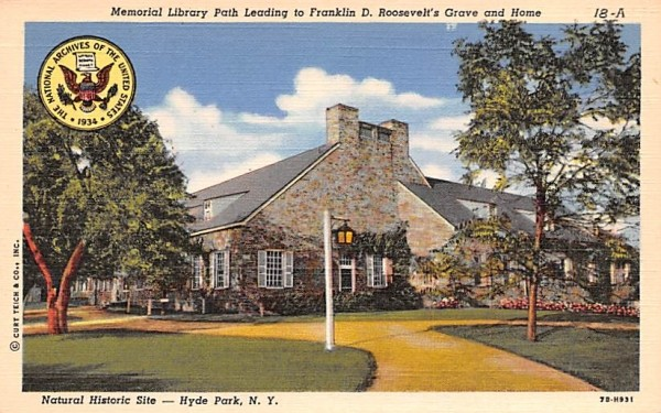 Memorial Library Path Hyde Park, New York Postcard