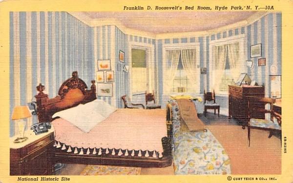 Franklin D Roosevelt's Bedroom Hyde Park, New York Postcard